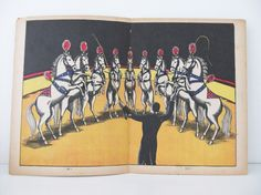 Three Circus pictures from 1930s Circus Book, Circus horses, Clown, Chimp PeonyandThistlePaper on etsy