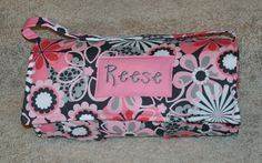 Nap Mat - Monogrammed Flower Shower in Petal Nap Mat with Pink Double-sided Minky or Minky Dot Blanket