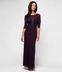 ALEX EVENINGS 2054 Robe de Soiree Illusion en Violet. Taille 46