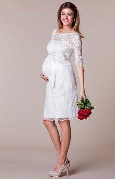 Amelia Lace Maternity Wedding Dress Short (Ivory) by Tiffany Rose