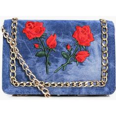 Boohoo Bella Floral Patch Denim Cross Body Bag (46 BRL) ❤ liked on Polyvore featuring bags, handbags, shoulder bags, accessories, purses, denim hand bags, handbag purse, denim crossbody purse, shoulder handbags and blue purse