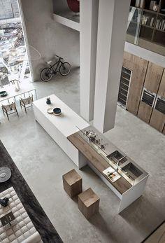 Cuisine design, cuisine moderne, cuisine ouverte. Trouvez des idées de #cuisine #déco avec www.normaa.com, #meuble sur-mesure.
