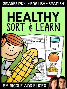This downloads in English plus a FREE Spanish version. It has a variety of resources for your healthy food unit or lessons. It includes vocabulary cards, individual and group sorting activities, graphic organizers, coloring sheet, word builder, drawing sheet and more!
