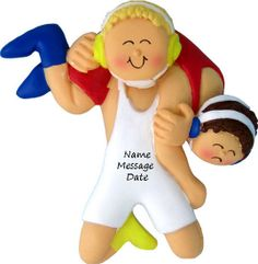 Wrestling Ornament - Boy with Blond Hair Ornament -  Personalized Wrestling Sports Ornament