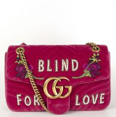 Gucci GG Marmont Medium Velvet 'Blind for Love' Shoulder Bag Pink Pink Shoulder Bags, Gucci Shoulder Bag, Small Shoulder Bag, Gucci Canvas Bag, Gucci Padlock, Gg Marmont, Gucci Bamboo, Pearl Studs, Gucci Bags