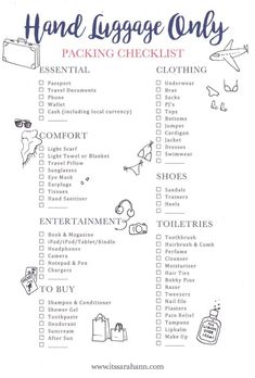 The holiday packing list: hand luggage (Stylemyday.nl) - The holiday packing list: hand luggage - Travel Packing Checklist, Travel Bag Essentials, Travelling Tips, Packing Hacks, Packing Ideas, Vacation Checklist, Weekend Packing List, Beach Vacation Packing List, What To Pack For Vacation
