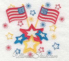 USA Fireworks American Flags and Stars Machine Embroidery Design United States 4th of July