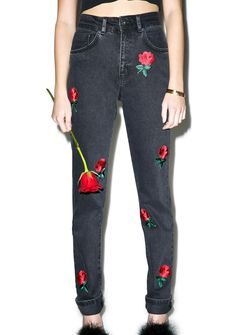 The Ragged Priest Thorn In My Side Mom Jeans you got a deathwish, starin' at me like that? Show 'em that every rose has its thorns in these high waisted black denim mom jeans, featuring classic zipper fly and button closure and red rose 'n stem embroidery all over tha front.