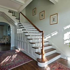 Wood work up side of staircase