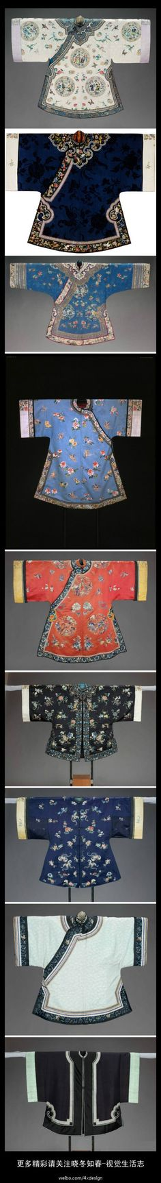 different types of Chinese jackets of Qing dynasty. China. Chinese costume