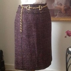 "HOST PICK ""Ann Taylor""Pencil Skirt & Belt  Gorgeous plum colored  Ann Taylor Pencil Skirt.  Size 6, 50% Wool, fully lined, back zipper, slit in the back. Great office skirt.  Will be clean & Ironed at shipment. Ann Taylor Skirts Pencil"