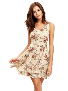 Shop Apricot Sleeveless Florals Skater Dress online. SheIn offers Apricot Sleeveless Florals Skater Dress & more to fit your fashionable needs.