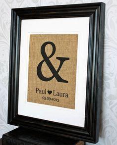 Personalized Wedding Gift   Ampersand Burlap by 33marketstreet, $20.00