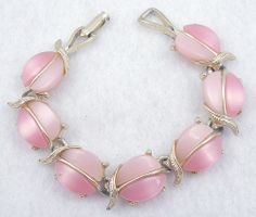 Pink Plastic Link Bracelet - Garden Party Collection Vintage Jewelry