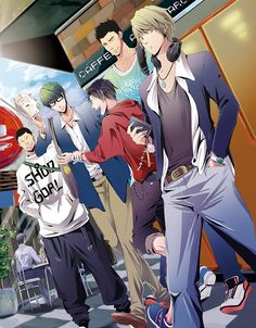 Pixiv Id Kuroko no Basuke, Midorima Shintarou, Ootsubo Taisuke, Takao Kazunari, Kimura Shinsuke. Kuroko No Basket, Aomine Kuroko, Midorima Shintarou, Akashi Seijuro, Love And Basketball, Basketball Players, Anime Love, Anime Guys, Manga Art