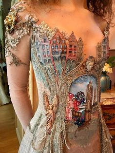Another Gem by french designer Sylvie FACON Painted dress, iridescent lace and beaded J Bracq.