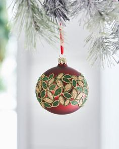 Shop Red & Green Collection Matte Dark Red/Glitter Leaves Ornament from Christborn Wegner at Horchow, where you'll find new lower shipping on hundreds of home furnishings and gifts. Painted Christmas Ornaments, Holiday Ornaments, Christmas Bulbs, Christmas Decorations, Holiday Decor, Christmas Ideas, Red Glitter, Christen, Dark Red