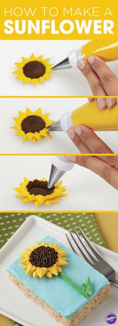 to Pipe a Sunflower Learn how to make a buttercream sunflower with this step-by-step tutorial from Wilton!Learn how to make a buttercream sunflower with this step-by-step tutorial from Wilton! Cake Decorating Techniques, Cake Decorating Tutorials, Cookie Decorating, Decorating Cakes, Cake Decorations, Buttercream Decorating, Decorating Ideas, Frosting Techniques, Frosting Tips