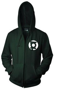 Green Lantern zip up hoodie with the Green Lantern Logo.
