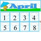 Free April Calendar Set includes month and number cards...