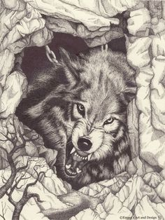 Fenrir Chained Growling Wolf drawing by EmmasArtandDesign