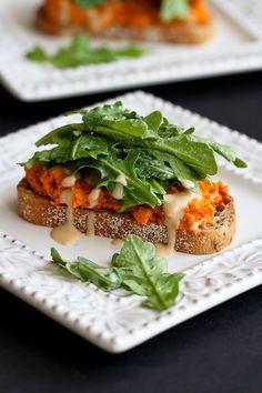 Sweet Potato Toast with Tahini Arugula Recipe