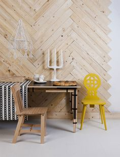 herringbone wood wall