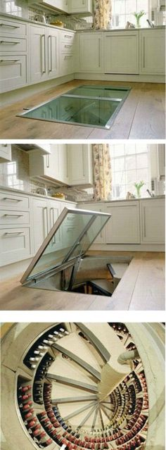 Trap door leading to a wine cellar. yes please! could be a great idea for a root cellar or pantry instead. I don't drink enough some to want a while wine cellar. Style At Home, Spiral Wine Cellar, Root Cellar, Beer Cellar, Trap Door, Sweet Home, Deco Design, Home And Deco, Interior Exterior