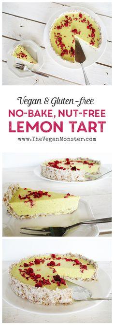 No Bake Lemon Tart, Vegan, Gluten-free and Nut-free :)
