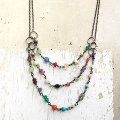Dainty multi strand rainbow necklace available in Etsy!