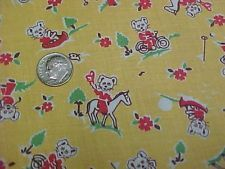 Vintage Antique Cotton Quilt Doll Fabric Print 1920s Novelty Remnant Teddy Bears