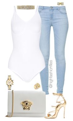 """Diamonds"" by highfashionfiles ❤ liked on Polyvore featuring Zara, Yummie by Heather Thomson and Versace"