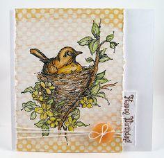 Suzz's Stamping Spot, Stampendous, STAEDTLER, Bird, Nestled Bird, Nest, Branch, Card, Polka Dots, Suzanne Czosek,