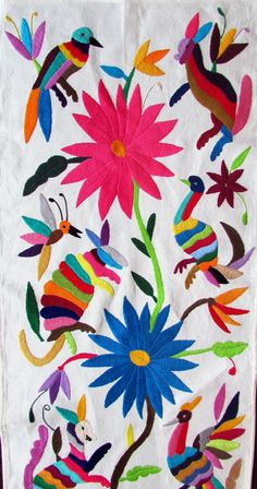 Otomi Table Runner multicolor hand made hand by ArteDeMiTierra Mexican Fabric, Mexican Textiles, Mexican Folk Art, Mexican Embroidery, Floral Embroidery, Hand Embroidery, Needlepoint Stitches, Embroidery Stitches, Embroidery Designs