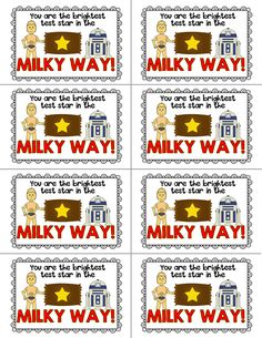 This packet includes treat labels to motivate your test takers. The set comes in a Star Wars inspired theme and includes the following:  Includes full color and black and white versions: -Ten different treat labels including labels for Milky Ways, Nestle Crunch or granola bars, Smarties, Pop Rocks, M&Ms, Extra gum, Blow Pops, Cookies, Butter Fingers, and Tootsie Rolls.
