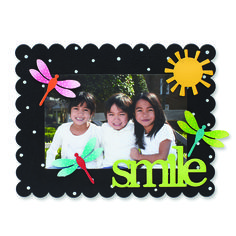 Create custom frames for all occasions. Change out colorful magnets and favorite photos for unique year round displays. Smile, Dragonfly and Sun Magnets from Embellish Your Story by Roeda.