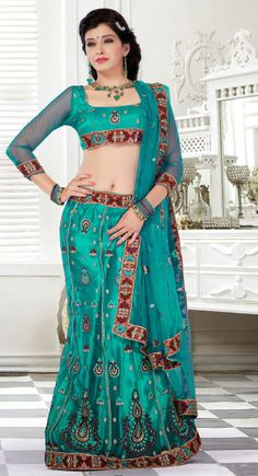 Attractive Greenish Blue Lehenga Choli