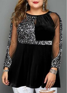 New Years Eve Women'S Black Sequin Plus Size Velvet Holiday T Shirt Mesh Panel Long Sleeve Tunic Casual Top By Rosewe Sequin Detail Plus Size Mesh Plus Size Gowns, Plus Size Outfits, Red Sequin Dress, Sequin Shirt, Velvet T Shirt, Plus Size Fashion, Mesh Panel, Fashion Dresses, Trendy Dresses