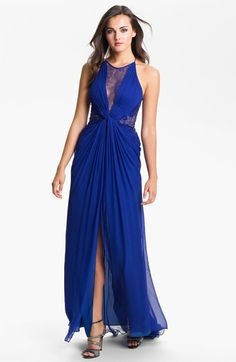 BCBGMAXAZRIA Lace Inset Textured Silk Chiffon Gown available at #Nordstrom