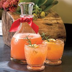 Rudolph's Tipsy Spritzer...Think I'll try with pink grapefruit juice since I can't have orange juice