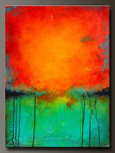 Rejuvenate - 24 x 18 - Abstract Acrylic Painting - Contemporary Wall Art - Highly Textured  by  CharlensAbstracts