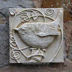 Garden Wall Plaques : Animal Wall Plaques : Wren Wall Tile - Bird Design Garden Wall Plaque