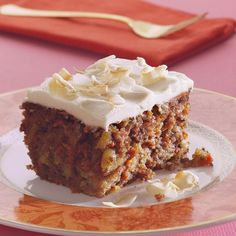Carrots give carrot cake a health-halo effect--people think it's health food, but it's usually very high in fat and calories. But our version has about 40 percent less calories and 50 percent less fat than most. First, we use less oil in our batter. Then we skip the butter in the frosting (don't worry, it's still light and smooth). To ensure the cake is moist, we add nonfat buttermilk and crushed pineapple.