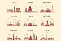 Set of 9 Indian cities skylines by grop on Creative Market