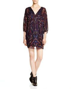 Joie Aggi Tossed Paisley Print Silk Chiffon Dress