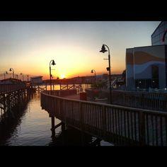 Boardwalk on the beach sunset