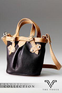 HB1041 The Vogue Black Leather Handbag for FR Barbie A3  FR2