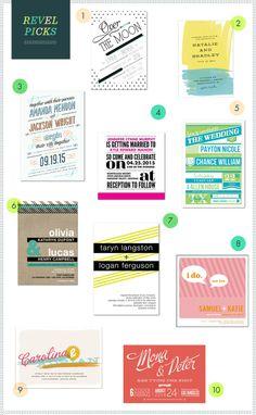 Modern, colorful wedding invitations!  Polka dots, bright colors, bold looks...