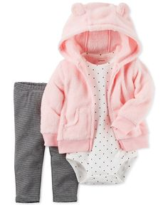 Dots, lines and fuzzy faux fur come together to create this must-have snuggly three-piece set from Carter's. | Faux-fur hoodie: polyester; bodysuit and leggings: cotton | Machine washable | Imported |