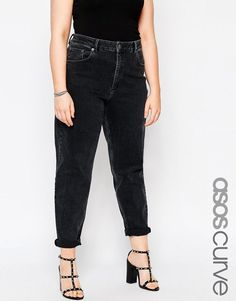 ASOS CURVE Farleigh Mom Jeans in Washed Black - $49.00